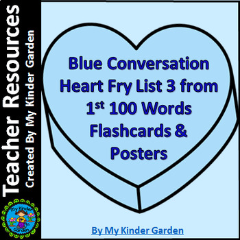 Blue Heart Fry List 3 In 1st 100 High Frequency Sight Word Posters & Flashcards