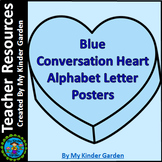Blue Conversation Heart Alphabet Letter Posters / Word Wall Headers Full Page