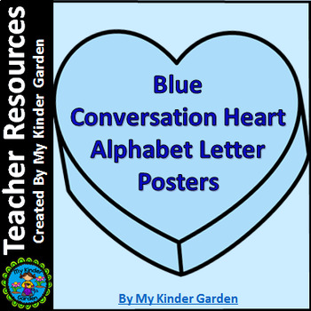 Blue Heart Full Page Alphabet Letter Posters Uppercase and
