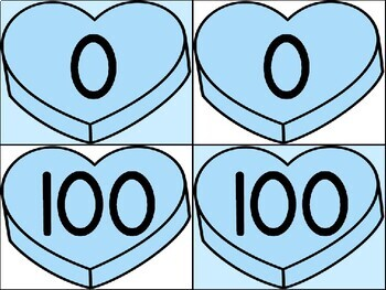 Blue Heart Full Page Math Number Posters 0-100