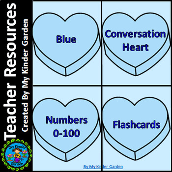 Blue Heart Number Flashcards 0-100