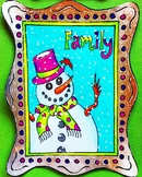 Family Snowman Art Coloring Page