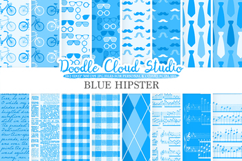 Blue Hipster digital paper, Vintage Retro patterns, Father's day