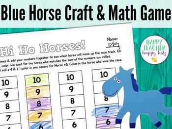 Blue Horse Craft & Math Game: Pre-K, Transitional Kinder, & Kinder
