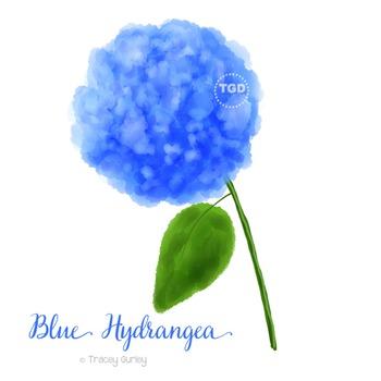 Blue Hydrangea Clip art Printable Tracey Gurley Designs