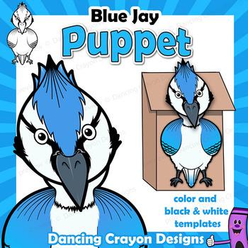 Blue Jay Bird Craft - Paper Bag Bird Puppet