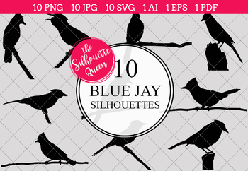 Blue Jay Silhouettes Clipart Clip Art(AI, EPS, SVGs, JPGs, PNGs, PDF)