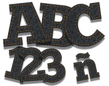 """Blue Jean Denim Alphabet -  150 DPI - PDF/ PNGs - 3"""" High - No Grass Stains!"""