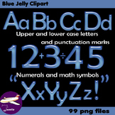 Alphabet Clip Art Blue Jelly + Numerals, Math Symbols & Pu