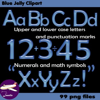 Alphabet Clip Art Blue Jelly + Numerals, Math Symbols & Pu