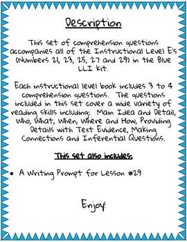 Blue LLI Comprehension Questions