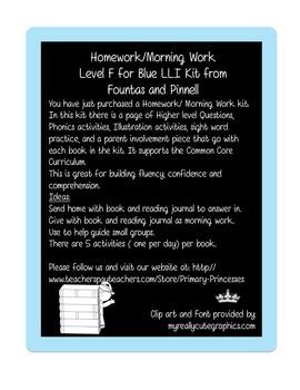 Blue LLI Weekly Homework Kit for Level F. CCSS