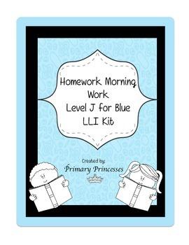 Blue LLI Weekly Homework Kit for Level J. CCSS