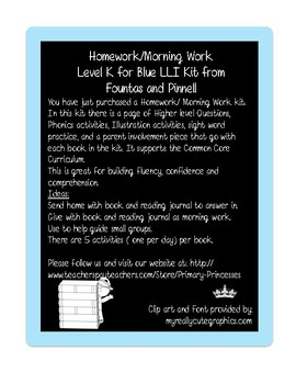 Blue LLI Weekly Homework Kit for Level L. CCSS