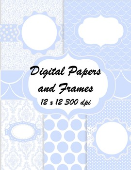 Blue Lavender Digital Papers with Matching Frames - Commercial OK