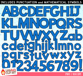 Blue Letters and Numbers Clip Art