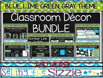 Blue, Lime Green, Gray, Chalkboard Themed Classroom Decor BUNDLE