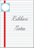 Blue Lined Ribbon Notes