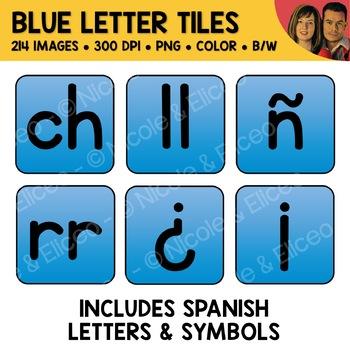 Blue Alphabet Tiles Clipart (English + Spanish)