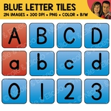 Blue Alphabet Tiles Clipart (English + Spanish)