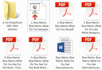 Blue Marlin, Blue Marlin, What Do You See PowerPoint Show + PDF Digital Books