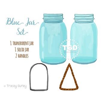 Blue Mason Jar Clip Art Set Printable Tracey Gurley Designs
