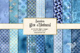 Blue Mermaid Digital Paper, seamless glitter patterns, bac