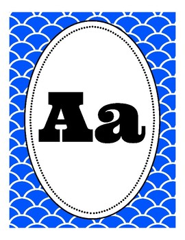 Blue Mermaid, Fish Tail, Under the Sea-Themed Alphabet Posters (Classroom Decor)