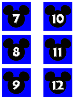 Blue Mickey Date Cards