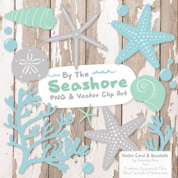 Blue & Mint Coral & Seashells Clipart