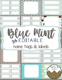 Blue Mint EDITABLE Name Tags and Labels
