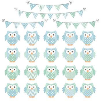 Blue & Mint Owl Vectors & Papers - Baby Owl Clipart, Owl Clip Art, Baby Owls