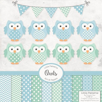 Blue & Mint Owl Vectors & Papers - Baby Owl Clipart, Owl C