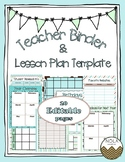 Blue Mint Teacher Binder/ Lesson Plan Template- EDITABLE