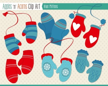 Blue Mittens Clip Art - color and outlines