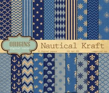 Blue Nautical Kraft Digital Paper Backgrounds
