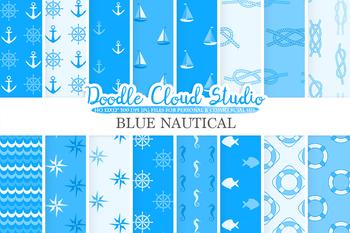 Blue Nautical digital paper, Seal patterns, Ocean Steering wheel, Fishes