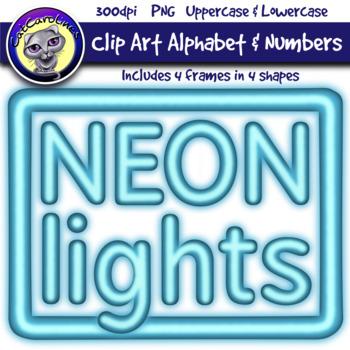 Blue Neon Lights Clip Art Alphabet Letters & Frames