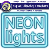 Blue Neon Lights Clip Art Alphabet Letters & Frames