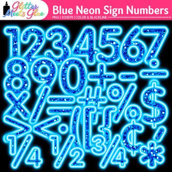 Blue Glitter Neon Glitter Sign Numbers Clip Art {Glitter Meets Glue}