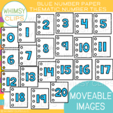 Blue Number Paper Tile Clip Art {MOVEABLE IMAGES}