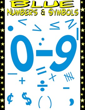 Math Numbers Clipart - Blue