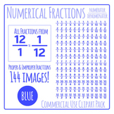 Blue Numerical Fractions - Numerator and Denominator Commercial Use Clip Art