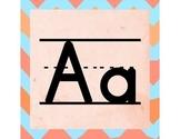 Blue & Orange Chevron Word Wall ABC Letters