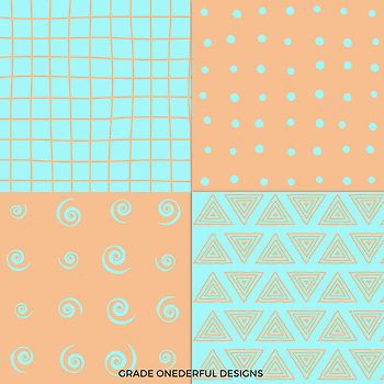Blue Orange Digital Paper Set: Full of Whimsy, Hand-Drawn Look
