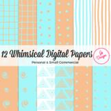 Blue Orange Digital Paper Set: Full of Whimsy, Hand-Drawn Look