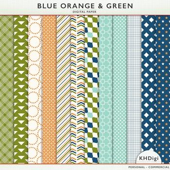Blue Orange & Green Digital Paper