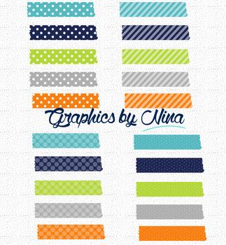 Blue, Orange and Turquoise Washitape Clipart