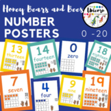 Blue, Orange, and Yellow Counting Number Posters 0-20