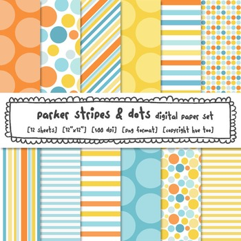 Blue, Orange and Yellow Digital Paper, Polka Dots and Stripes Backgrounds